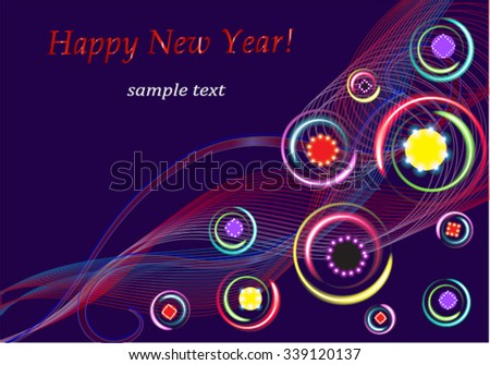 eps10, vector, family holiday, winter, december, joy, greetings Merry Christmas and Happy New Year, positive emotions, good humor, smile, gift card - stock vector