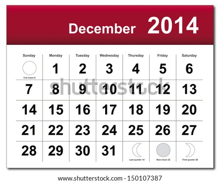 EPS10 vector file. December 2014 calendar. The EPS file includes the version in blue, green and black in different layers. Raster version available in my portfolio. - stock vector