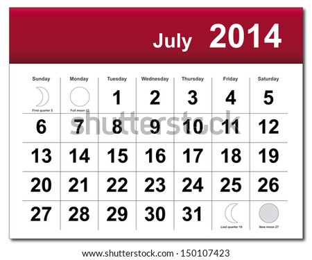 EPS10 vector file. July 2014 calendar. The EPS file includes the version in blue, green and black in different layers. Raster version available in my portfolio. - stock vector