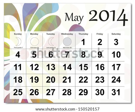 EPS10 vector file. May 2014 calendar. The EPS file includes the version in blue, green and black in different layers. Raster version available in my portfolio. - stock vector