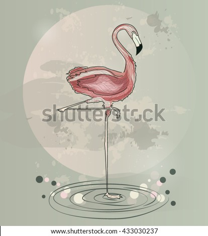 Eps10 vector - Flamingo on a green and pink background - stock vector