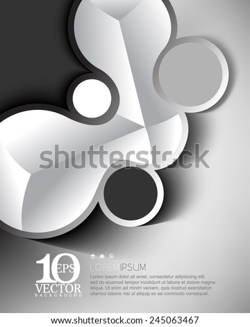 eps10 vector geometric round elements frame chrome effect business background - stock vector