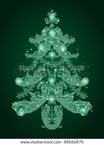 eps 10, vector green christmas tree from paisley elements  and stars - stock vector