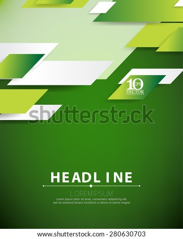 eps10 vector green embossed overlapping motion geometric elements hi-tech corporate business background - stock vector