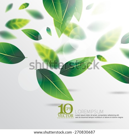eps10 vector green spring falling leaves with depth of field nature background - stock vector