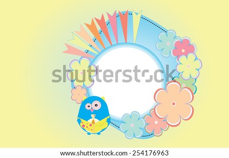 Eps 10 vector happy birthday party card with flowers and cute owl holding greeting card. Cute colorful wallpaper, illustration, background, postcard, ornament. Nature, geometrical objects, shapes. - stock vector