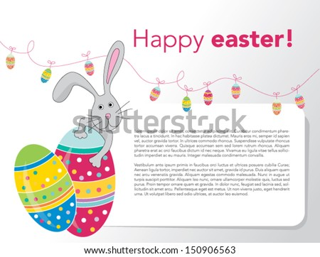 eps 10 Vector - Happy Easter Rabbit Bunny Banner - stock vector
