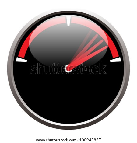 EPS 10 vector illustration of a speedometer on a white background.  Transparency and gradients used. - stock vector