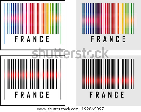 EPS 10 Vector Illustration of Barcode or Bar Code icon and red laser sensor beam over France - stock vector