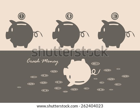 Eps 10 vector illustration of 3 brown piggy bank on pink background with euro, dollar, currency, conventional unit sign coins over it and one upside down pig. Crashing, going down money value concept. - stock vector
