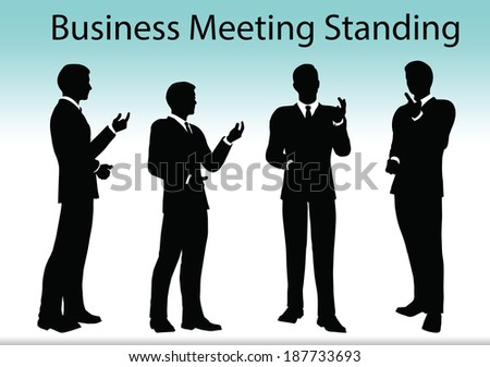 EPS 10 Vector illustration of business people meeting standing silhouette - stock vector
