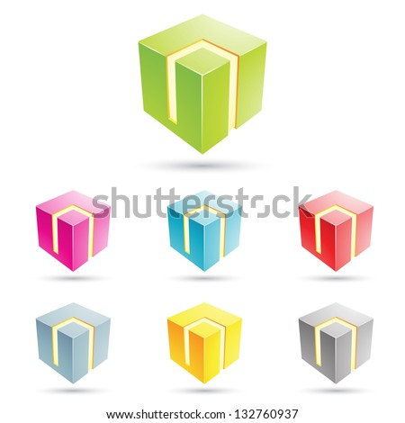 eps vector illustration of colorful cubical icons - stock vector