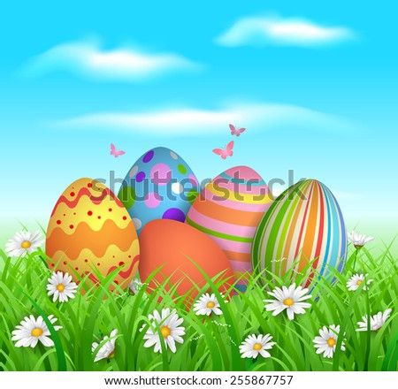 EPS 10 Vector illustration of colorful easter eggs in grass. Objects are layered. Used gradient mesh, blending modes and transparency. RGB color mode. Easy to edit. - stock vector