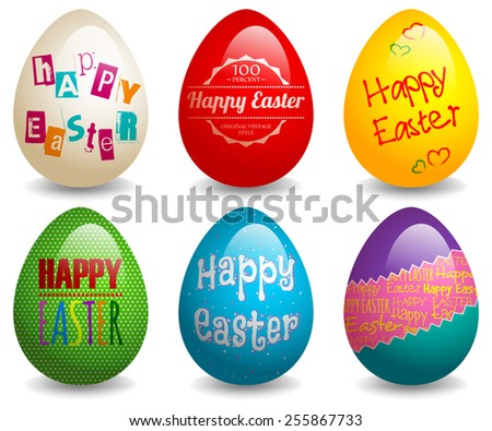 EPS 10 Vector illustration of colorful easter eggs set. Used gradient mesh and opacity on shadow and blending mode. RGB color mode. Eggs are grouped and easy to edit. - stock vector