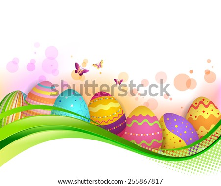 EPS 10 Vector illustration of Easter eggs banner. Used opacity and blending mode. Clipping mask on eggs. Objects are grouped and layered, easy to edit. - stock vector