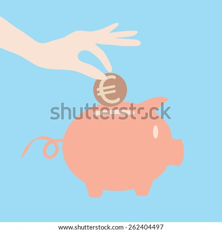 Eps 8 vector illustration of flat style pink ceramic piggy bank icon with hand with a euro coin isolated on light blue background. Money saving, financial growth retirement pension fund concept symbol - stock vector
