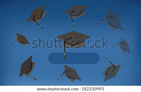 EPS 10 Vector Illustration of Graduation Caps - Black Mortarboards Thrown in the Air - stock vector