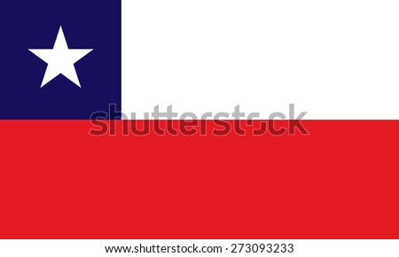 Eps 8 vector illustration of original and simple flat Chile national flag. Political symbol of  state. Red blue white rectangles with star on top. Official colors and proportions. No transparencies - stock vector