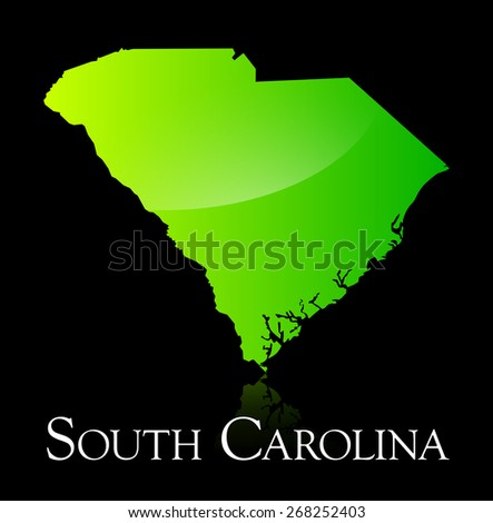 EPS 10 Vector illustration of South Carolina green shiny map. Used transparency. - stock vector