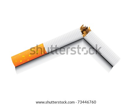 eps8 vector isolated broken cigarette - detailed realistic illustration - stock vector