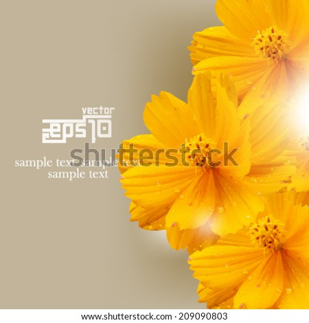 eps10 vector isolated overlapping flowers background - stock vector