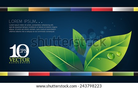 eps10 vector leaf elements with water droplets with multicolored straight bars on blue background ecology concept design - stock vector