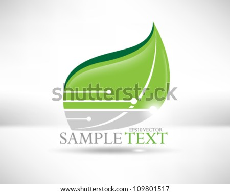 eps10 vector leaf icon element background illustration - stock vector