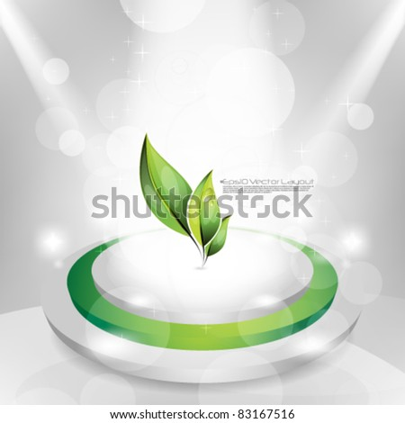 eps10 vector leaf icon on bright lights on stage background - stock vector