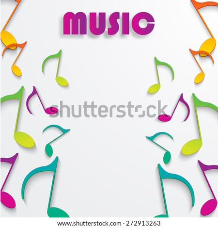 eps10 vector music note background design colored paper - stock vector