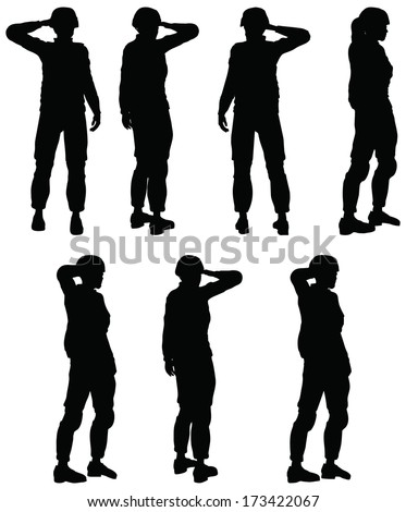 EPS 10 Vector of Soldier, officer, captain, policeman saluting - stock vector