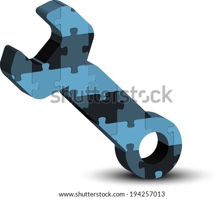 EPS 10 vector of wrench, spanner, maintenance support tool icon in puzzle - stock vector