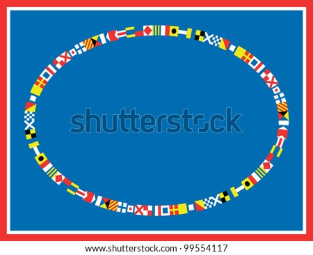 EPS8 Vector oval red, white and blue nautical flags border or frame. - stock vector