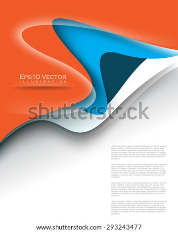 eps10 vector overlapping blue and orange waves elements corporate business background illustration - stock vector