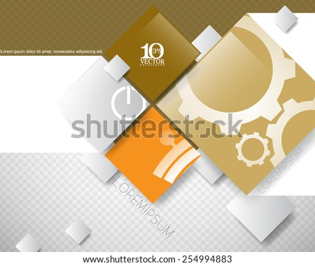 eps10 vector overlapping geometric squares with silhouette drawing inside background banner design - stock vector