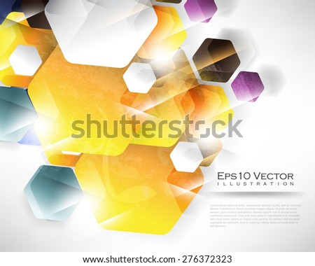 eps10 vector overlapping rounded hexagon geometric shape multicolor business background illustration - stock vector
