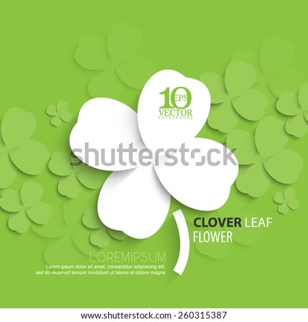 eps10 vector overlapping silhouette clover leaf background - stock vector