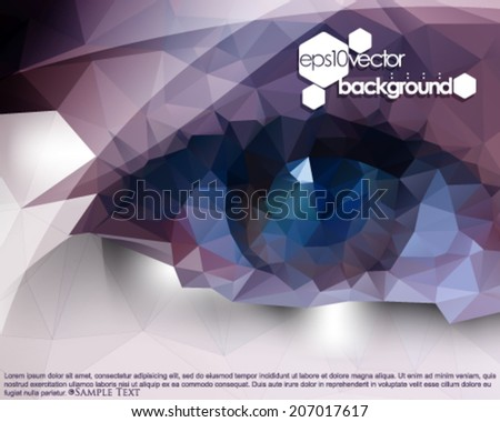 eps10 vector polygon shape eyes abstract background - stock vector