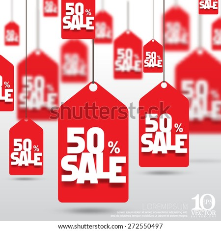 eps10 vector price tag 50 percent sale discount promo reduction business background - stock vector