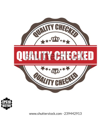 EPS10 Vector : Quality Checked Grunge Rubber Stamp with Crown and Red Ribbon. (Sticker, Tag, Icon, Symbol)  - stock vector