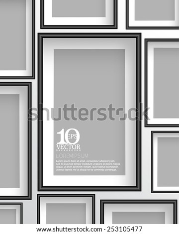 eps10 vector rectangular empty space photo frame background design - stock vector