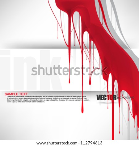 eps10 vector red dripping paint element design - stock vector