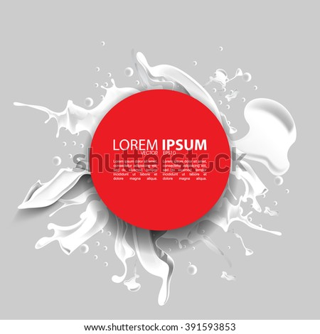 eps10 vector red round frame over white ink splashed background - stock vector