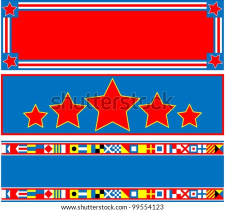 EPS8 Vector 3 red, white and blue headers with copy space and nautical flags. - stock vector