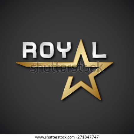 EPS10 vector royal golden star inscription icon - stock vector