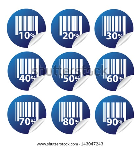 EPS10 Vector: Sale tags with Sale 10 - 90 percent text on circle tags - stock vector