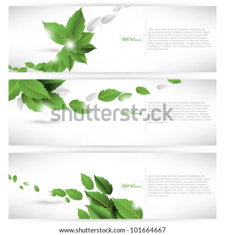 eps10 vector set of leaf concept banner background - stock vector