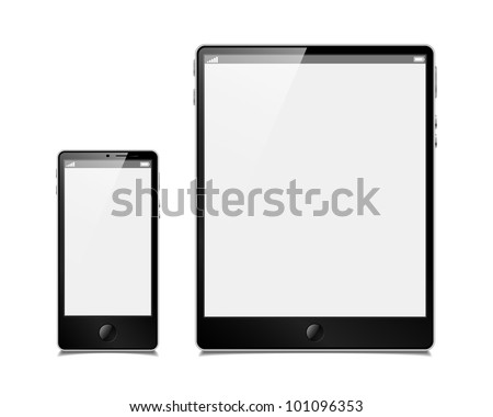 eps10, vector set, tablet and smartphone - stock vector