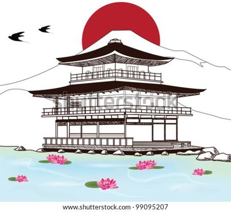Eps 10 vector  - sketch of a beautiful japanese pagoda - stock vector