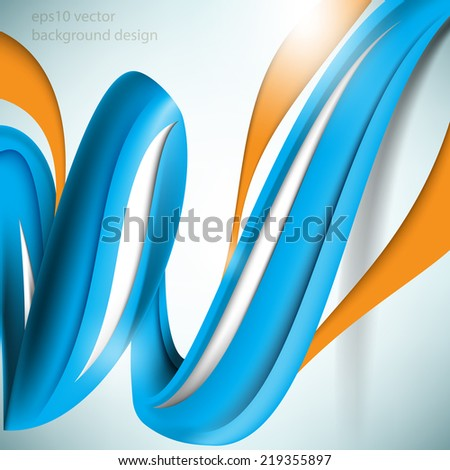 eps10 vector three-dimensional spiral blue elements concept background - stock vector
