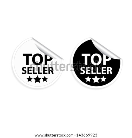 EPS10 Vector: Top seller on black and white barcode stickers and labels - stock vector